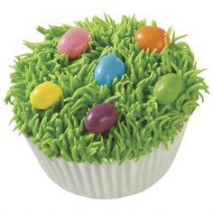 Easter Egg Hunt Cupcakes with chocolate grass and jelly bean eggs.