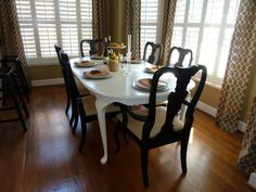 Painted Queen Anne Dining Table.