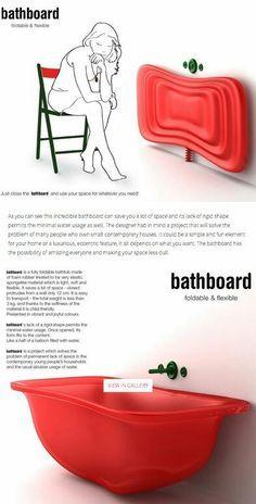 Unique space-saving bathtube.