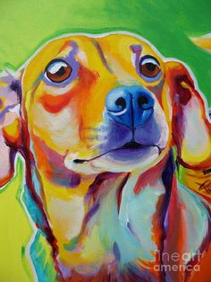 Chiweenie - Little Dog Painting Alicia VanNoy Call - ACRYLIC