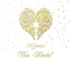 Felicitatie goud hart, verkrijgbaar bij #kaartje2go voor €1,89