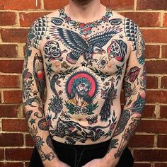@joshsutterby !!!!!!!! Cool Chest Tattoos, Chest Tattoos For Women, Chest Piece Tattoos, Traditional Tattoo Meanings, Traditional Chest Tattoo, Traditional Tattoo Sleeves, Traditional Tattoo Filler, Tattoo Old School, Old School Tattoo Designs