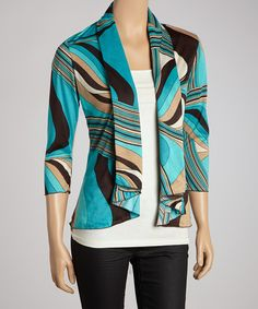 Take+a+look+at+the+Aqua+&+Brown+Flowing+Stripes+Open+Cardigan+-+Women+on+#zulily+today!