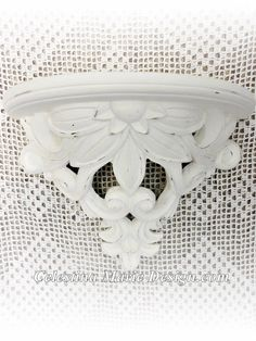 Large Wall Shelf Hand Painted Lace Chalk by CelestinaMarieDesign
