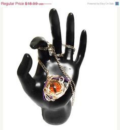 On Sale Dragon Eye Silver and Purple Wire wrapped Necklace Pendant Dragon jewelry fantasy jewelry