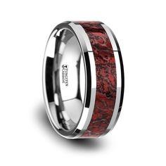 Red Dinosaur Bone Inlaid Tungsten Carbide Beveled Edged Ring - 8mm
