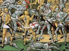 """Bretons à croix noire contre anglais à croix rouge.- Bataille de Chizé 1372: C'est alors que """"messire Du Guesclin fit prendre tous les vêtements des Anglais et leurs chevaux dont on s'était emparé dans la bataille, il fit monter dessus les Français et les fit partir hâtivement de Chizé pour  venir devant Niort à la vue des Français vêtus des tuniques et montés sur les chevaux des Anglais, les habitants les prirent pour ces derniers et abaissèrent immédiatement leur pont""""."""