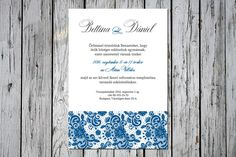 Elegant Wedding Invitation, Wedding Invitation, Lace Wedding Invitation, Blue Wedding Invitation Lace Wedding Invitations, Blue Wedding
