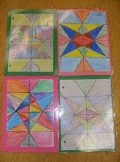 Stain glass graphed linear equations