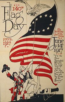 In the United States Flag Day is celebrated on June 14. It commemorates the adoption of the flag of the United States, which happened that day by resolution of the Second Continental Congress in 1777.