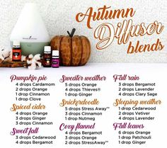 Autumn diffuser blends. Ditch the toxic candles and keep your home smelling amazing with essential oils this fall!