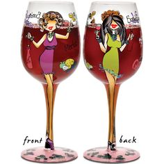 """I'll Drink to That Wine Glass.  Funky, sassy, and fun, these unique wine glasses will make your next girl's night one for the ages! Hand painted and decaled with lots of sassy ladies including adhered Swarovski crystals wherever there's a need for bling. Hand wash only. 9"""" tall. 15 oz. glass.   SKU#: 2128106  Price: $25.00"""