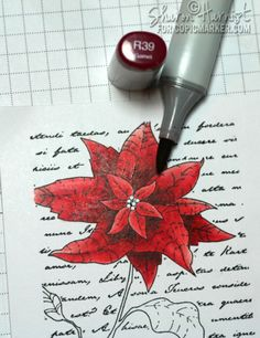 Red Poinsettia Copic Tutorial by Sharon Harnist