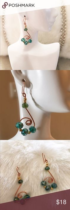 Some lovely S Earrings Copper color wire Some blue green beads Made by dionnise Jewelry Earrings