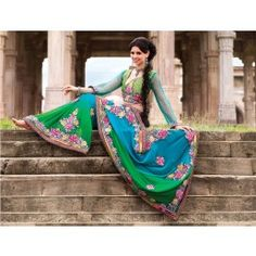 Tantalizing Green & Teal Blue Faux Georgette Embroidered Saree