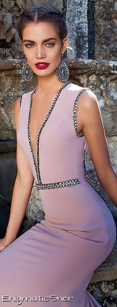 Tarik Ediz ~ Couture Low V-neckline Evening Gown, Orchid