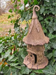 Jolly Gnome Home for the Garden by ClaySoul on Etsy Clay Projects, Clay Crafts, Diy And Crafts, Arts And Crafts, Clay Fairy House, Fairy Garden Houses, Fairy Gardens, Garden Art, Garden Design