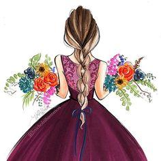 45 Ideas Flowers In Hair Illustration Etsy Fashion Illustration Vintage, Illustration Mode, Fashion Illustrations, Fashion Sketches, Art Sketches, Art Hipster, Girly Drawings, Anime Art Girl, Cute Art