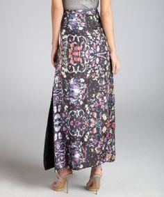 Cynthia Rowley. Black Floral Print Silk Maxi Skirt.