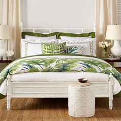 Lush Tropical Bedroom Ideas, featured on Completely Coastal. Tropical style beds, bedding, and more to help you create a tropical island style bedroom retreat with just the right furniture and decor. Tropical Bedroom Decor, Tropical Bedrooms, Tropical Interior, Coastal Bedrooms, Tropical Houses, Tropical Decor, Tropical Bedding, Coastal Bedding, Coastal Decor