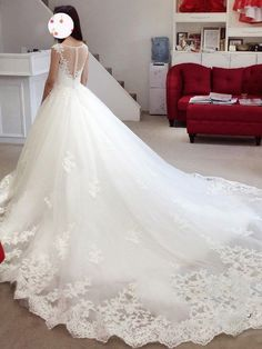 Ball Gown Sleeveless Bateau Applique Court Train Tulle Wedding Dresses - Wedding Dresses 2018 - Wedding Dresses - Hebeos Online #weddingdress