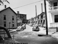 Cabbagetown: This view looks to the northeast toward the former Fulton Bag and Cotton Mills buildings that date to 1881. The mill closed in 1977.  via Atlanta Time Machine.