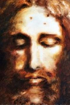 Face of Jesus (according to the shroud of Turin). Painted by Vassula Rydén Jesus Our Savior, King Jesus, Jesus Is Lord, Jesus Face, Biblical Art, Jesus Pictures, Catholic Prayers, Christian Art, Religious Art