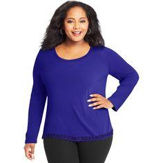 Plus Size Just My Size Lace Trim Long Sleeve Top, Women's, Size: 2XL, Purple Oth