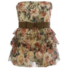 Floral Belted Tube Top ($20) ❤ liked on Polyvore