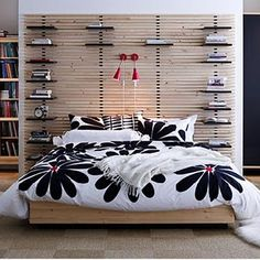 The Ikea Mandal headboard is great .. about to use a couple (like this pic!) for a client .. great look