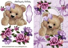 CUTE FUZZY BEAR IN BOWS AND PEARLS WITH ROSES on Craftsuprint - Add To Basket!