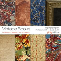 Vintage Books Digital Paper - marbled paper, literary theme, leather, gold embossing, Italian 12x12 scrapbook photography background 8026 by pickychicken on Etsy https://www.etsy.com/listing/162245843/vintage-books-digital-paper-marbled