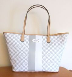 KATE SPADE Penn Place SMALL MARGARETA Tote Bag ~ Gray & White PVC ~ New/NWT #katespade #TotesShoppers