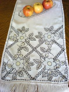 Hand Stitched Table Runner ARt Deco Dresser Scarf by chloeswirl Scarf Display, Vanity Tops, Hand Stitching, Table Runners, Dresser, Scarves, Art Deco, Embroidery, Handmade