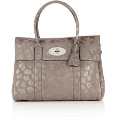 Mulberry Mole Grey Giant Sparkle Leopard Bayswater Bag ($1,375) found on Polyvore