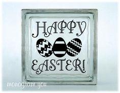 Easter Glass Block Vinyl Decal 'Happy Easter'