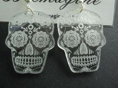 Laser cut and engraved clear acrylic earrings Sugar by Beemagine, £3.99