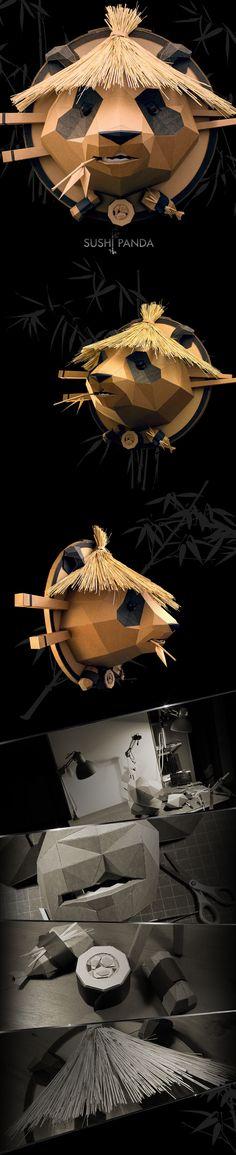 Sushi Panda on Behance Cardboard Sculpture, Cardboard Art, Animal Masks, Animal Heads, Origami Paper, Diy Paper, Paper Clay, Paper Animals, Paper Artwork