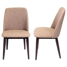 These elegant and contemporary chairs feature solid wood construction legs and an upholstered fabric seat with inner foam padding.