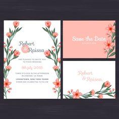 Floral wedding invitation set Free Vector
