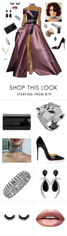 """""""Good evening Mr. Bond!"""" by styledbystaes ❤ liked on Polyvore featuring Versace, Elie Saab, Christian Louboutin, Jorge Adeler, Huda Beauty and Piaget"""