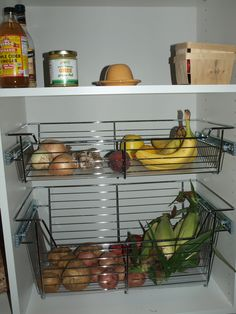 pull out small kitchen appliance storage | love these pull-out baskets for storing dry foods that used to cram ...