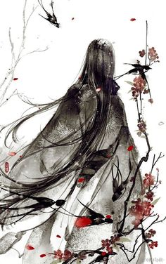 This looks like traditional Chinese or Japanese ink painting or drawing, but either way, it's beautiful. I can't use the stuff to save my life (cries in hysterics), but I admire Japanese Ink Painting, Chinese Painting, Japanese Art, Manga Anime, Manga Art, Anime Art, Fantasy Kunst, Fantasy Art, Chinese Drawings