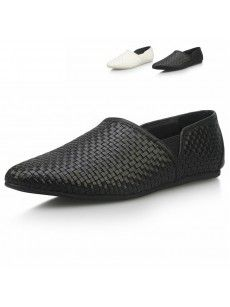 Mens Slip on Cowhide Weave Shoes with Black and Cream Color.