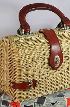 Vtg 1960s Wicker Cane Weave Purse Lucky Horse Shoe Small Hand Bag Macys New York on Etsy, $45.78 AUD