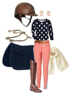 """""""Peach and Navy Polka Dot Schooling Outfit"""" by krissyhorn on Polyvore featuring Uniqlo, Frame Denim, Kenneth Jay Lane and Ariat"""
