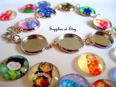 This listing is for Russian Matryoshka Doll Picture Glass cabochon, assorted pictures.  Size: about 14mm in diameter thick:5mm Material: Glass