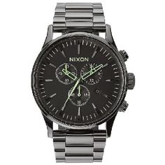 Nixon Mens Nixon The Sentry Chrono Watch - Polished Movement: Miyota Japanese quartz 6 hand chronograph with date placement at 4 hour and a 24hr subdial
