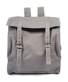 Grey Canvas Backpack with Twin Pin Buckled Belt and Side Pockets