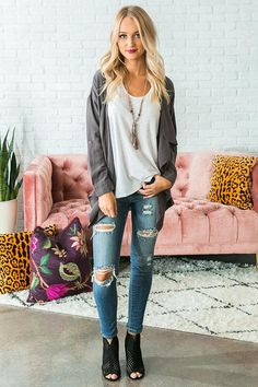 Midtown Chambray Lightweight Jacket in Charcoal